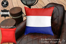 """NETHERLAND FLAG COLOUR LEATHER 1X EXCLUSIVE LUXURY CUSHION 18""""x18"""" RED BACK"""