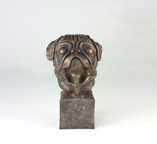 Limited Edition Pug Bust Bronze Hand Sculpted Artwork Gift Ornament Figurine