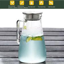 AGM 1.5L Glas Wasserkaraffe Wasserkrug Kühlkaraffe Glaskaraffe +Edelstahl Filter