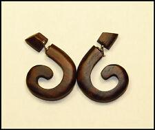 ein Fake-Piercing Ohrschmuck Ohrring Spirale Schnecke Holz Dunkelbraun 1 mm NEU!