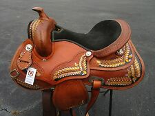 15 16 17 WESTERN BARREL TRAIL PLEASURE SHOW FEATHER FLORAL TOOLED HORSE SADDLE