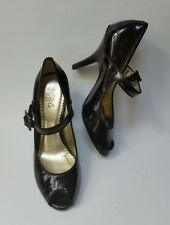 BCBG Paris Shoes Heels Peep Toe Brown Patent Leather Womens Size 6.5 B / 36.5