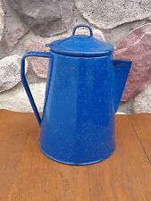 New listing Blue Speckled Enamelware Metal Percolator Coffee Pot w/insert Camping Cabin