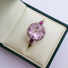 Sunflower Cut & Pink Amethyst w/ White Topaz Sterling Silver Ladies Ring Size P