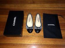 100% Authentic Chanel Ballerina Flats Shoes Black White Cap Toe Tweed 37 6.5 6