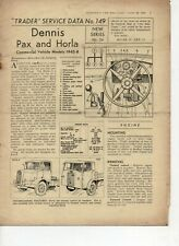 Dennis Pax Horla Commercial vehicle 1945-48 Motor Trader Service Data Sheet 149