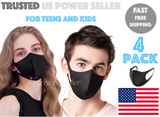 4 Pack Teen Kids Black Face Mask Stretch Thin Cover Washable Reusable Unisex