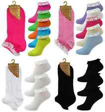 3 Pair Ladies Girls White Trainer Socks With Quality Lace Trim UK Size 4-8