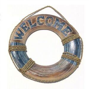 Welcome Blue Distressed Wood Life Preserver Wall Sign Home Beach Decoration New