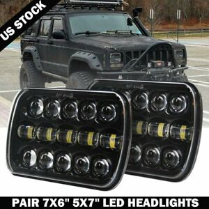 "Pair 400W 7x6"" 5x7"" LED Headlight Hi Lo Beam DRL For Chevrolet Jeep Cherokee XJ"