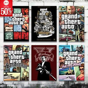 Grand theft auto V Poster reprint for room decor wall art poster gamer home deco
