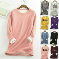Women Ladies Fleece Lined Fit Slim Shirt Blouse Thick Warm Stretch Top Winter UK