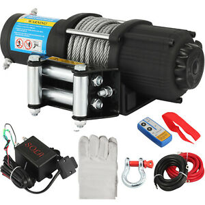 12V Electric Winch Rope Steel Cable Foot-Remote Roller Super winch Pull 4000lbs
