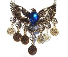 GOLD FIREBIRD NECKLACE teal tribal coin ethnic bohemian phoenix bib statement A3