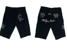 Pantaloni Corti Pantaloncini Shorts Neri Cargo Tessuto Cotone Patch Biker Tag 50
