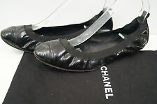 Chanel Black Leather brevet CC Signature Logo Flat Ballerina Pump Shoes eu40