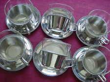 WMF BORD PERLE 6 verre à thé + DESSOUS DE PLATS + porte thé en CROMARGAN