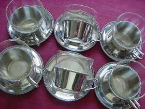 WMF Perlrand 6 Tea Glasses+ Saucer+ Tea Glass Holder Cromargan