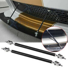 2x Adjustable Black Front Bumper Lip Splitter Strut Rod Tie Support Bars Spoiler