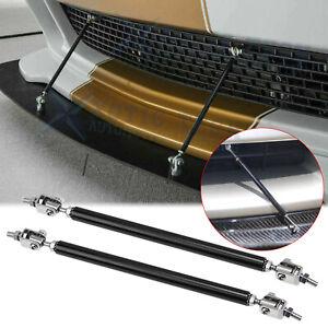 2pc Adjustable Black Front Bumper Lip Splitter Strut Rod Tie Support Bar Spoiler