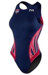 TYR Womens Red Blue Water Polo Swim Suit Phoenix Splice Destroyer Sz 26 NEW