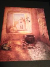 """Brown Adobe W/ Pottery Large 16 X 20"""" Picture Print In Lithograph by Dealer"""