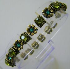 """Green Crystals Up To 7"""" W Ladies 1 New Bracelet Bangle Antiqued Gold Colour Blue"""