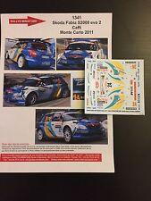 DECALS 1/43 SKODA FABIA S2000 CAFFI RALLYE MONTE CARLO 2011 WRC RALLY