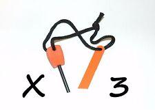 3 x Outdoor Survival Light-Weight Compact Flint Magnesium Fire Starter Striker