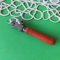 Vintage Metal Can Opener Red Wood Handle
