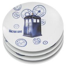 "Doctor Who Four Piece Set of 10"" Ceramic Dinner Plates with Tardis Design Unused"