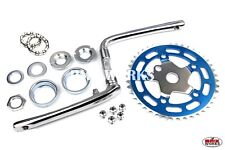 Old School BMX Style Crank, Spider, Chainring, Bearing Sets - 110 BCD Blue & CP