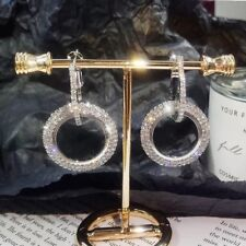 9K REAL PLATINUM FILLED CIRCLE HOOP EARRINGS MADE WITH SWAROVSKI CRYSTALS HE38