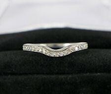$850 10K White Gold Round Diamond Curved Contour Wedding Band Anniversary Ring 6