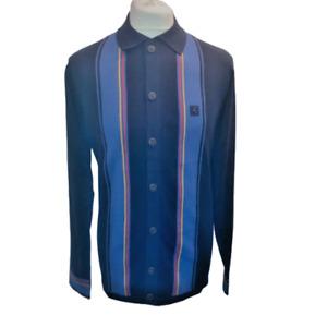 Gabicci Vintage Tiller,V45GM11,Navy Button Through Knitted Polo,Mod,Retro,SALE