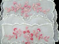 """Vintage 4 Madeira COCKTAIL NAPKINS FINE LINEN White with Pink floral 4.5x 6.5"""""""