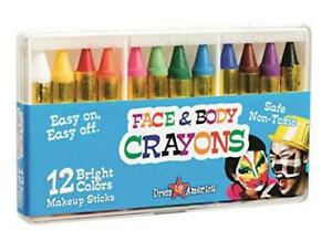 Kids Face Paint Body Crayons Party Non Toxic Safe 12 Color Gift Boy Girl New