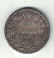 CANADA 1901 TWENTY FIVE CENTS QUARTER QUEEN VICTORIA STERLING SILVER COIN