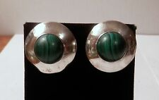 Southwestern Malachite Sterling 925 Silver Earrings Disc Saucer Shaped Signed