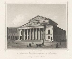 München : Nationaltheater.- Stahlstich von K. Gunkel, ca. 1860