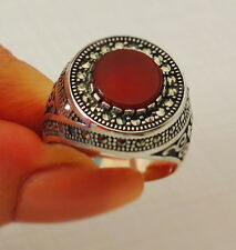 MEN RING 925 STERLING SILVER BROWN AGATE STONE TURKISH OTTOMAN  #424