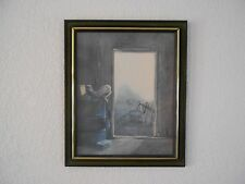 Barn Western Print in Dk. Green Wood Look Frame Signed  By William Otto