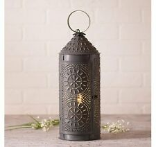 "Country Tinware 18"" Electric Chimney Lantern in Blackened Tin"