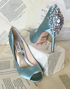 Badgley Miscka Jewled Pump Satin Peep Toe Bridal aqua blue silver 6 NEW