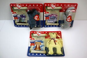 American Trio McDonald's Beanie Babies - Lefty - Righty and Libearty !!  ALL NIP