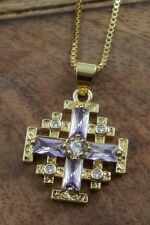 Gold Plated Silver Catholic Jerusalem Cross Pendant Purple Topaz Stone Necklace