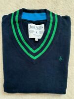 JACK WILLS V Neck Jumper Men's Green and Navy UK Size Medium