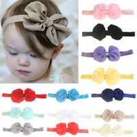 NE_ Toddler Girls Baby Turban Solid Headband Hair Band Bow Accessories Headwear