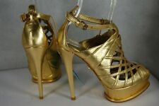 ANNA DELLO RUSSO H&M LTD GOLD LEATHER GLADIATOR ANKLE BOOTS EU 38 US 7
