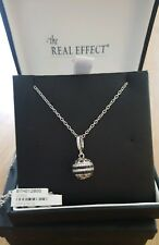 Brand New in Box. The Real Effect London Silver Necklace. Black & Clear Stones.